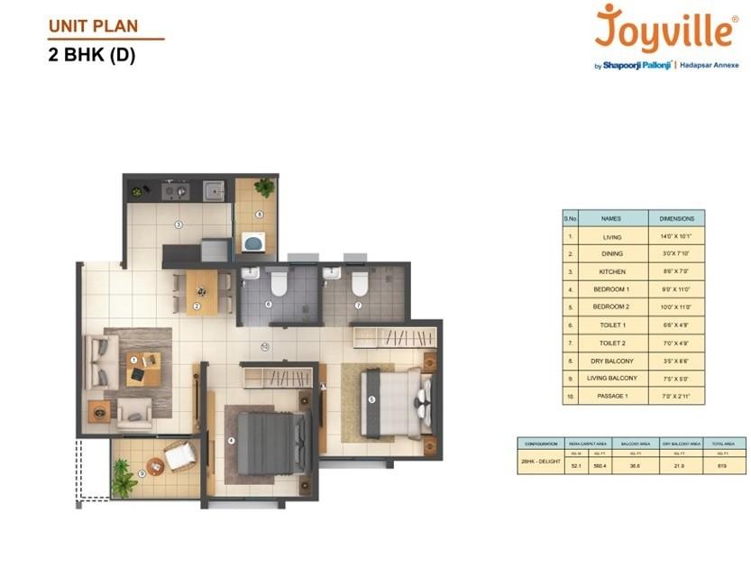 Joyville Hadapsar 2BHK Floor Paln